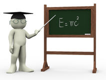3d teacher and einsteins theory. 3d render of teacher and black board with  written einsteins theory. Human character 3d illustration Royalty Free Stock Photo