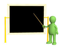 3d teacher - puppet, worth at a board with pick Royalty Free Stock Photography
