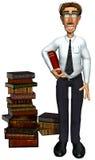 3d teacher teaching book below his arm. 3d teacher teaching books, a businessman with a pilar of books besides him Royalty Free Stock Photos