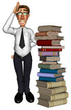 3d teacher teaching books. A businessman with a pilar of books Royalty Free Stock Image