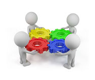 3d team with gear mechanism Stock Photography