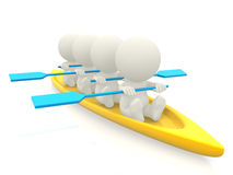 3D team rowing Royalty Free Stock Photography