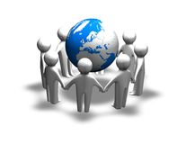 3d team work concept with earth, international cooperation idea Royalty Free Stock Photography