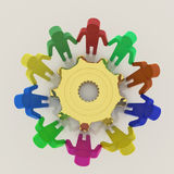 3D teamwork with gear to success Stock Photography