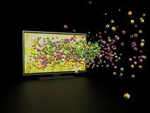 3D technology in TV. Black background Stock Photo