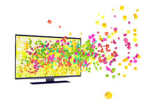 3D technology in TV. Isolated white Royalty Free Stock Photos