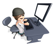 3D teenager working or playing on computer. Happy young boy doing homework Stock Photos