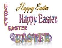 3d tekst szczęśliwy ustalony 4 Easter Obraz Royalty Free