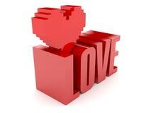 3D teksta serce i miłość. Fotografia Stock