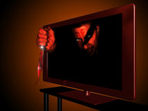3D television. A 3D led television with an image of  man with a blooded knife coming out of the screen Stock Photos