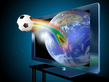 3D television. A 3D led television with the image of a soccer ball  coming out of the screen, from the Earth, from South Africa, reminding the world soccer Royalty Free Stock Photos