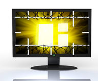3D television,. Computer screen in profile isolated on white Royalty Free Stock Photo