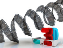 3D television - glasses and film Royalty Free Stock Photography