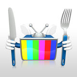 3d television man eating Stock Images