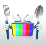 3d television man eating Royalty Free Stock Photos
