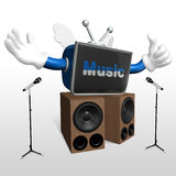 3d television man singing Stock Image