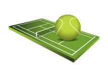 3d Tennis field  Royalty Free Stock Image