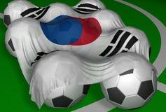3D-teruggeeft De vlag en de voetbal-ballen van Zuid-Korea Stock Foto