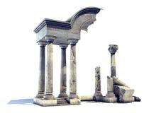 3D teruggegeven oude tempelruïnes stock illustratie