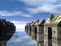 3D teruggegeven straat van geld gemaakt huis Royalty-vrije Stock Fotografie