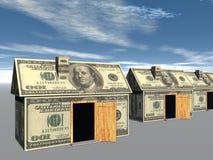3D teruggegeven straat van geld gemaakte huizen Royalty-vrije Stock Foto's