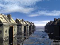 3D teruggegeven straat van geld gemaakte huizen Royalty-vrije Stock Afbeeldingen