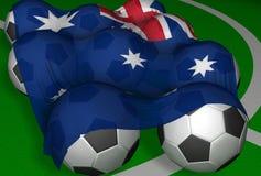 3D-teruggevend de vlag en de voetbal-ballen van Australië Stock Foto