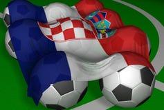 3D-teruggevend de vlag en de voetbal-ballen van Kroatië Royalty-vrije Stock Foto