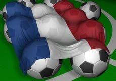 3D-teruggevend de vlag en de voetbal-ballen van Nederland Stock Afbeeldingen