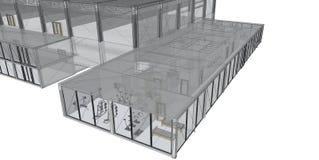 3D teruggevend draad-kader van de bouw. royalty-vrije stock fotografie