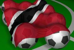 3D-teruggevend Trinidad en de vlag en de voetbal-ballen van Tobago Royalty-vrije Stock Foto