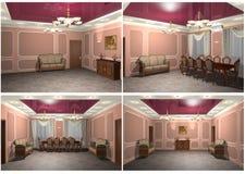 3D teruggevende binnenland van de Eetkamer Royalty-vrije Stock Foto's