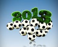 3D testo dell'erba da 2013 anni, titolo con i giochi del calcio Fotografie Stock Libere da Diritti