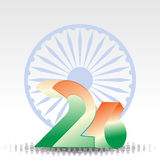 3D text of 26 and Asoka wheel for Republic Day. Royalty Free Stock Photos