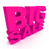 3d text BIG SALE. 3d text pink BIG SALE Stock Photos