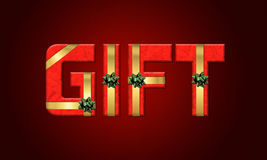 3d text GIFT. 3d text GIFT on dark red background with ribbons Royalty Free Stock Images