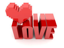 3D text Love and heart. Stock Images