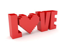 3D text Love and heart. Royalty Free Stock Photography