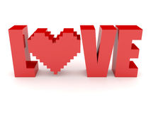 3D text Love and heart. Concept 3D illustration Stock Illustration