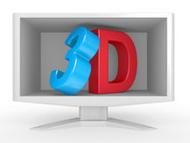 3d text in monitor inside on white background Stock Photo