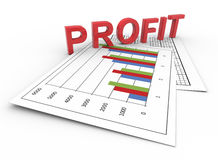 3d text profit on chart. 3d render of text profit on financial reports Royalty Free Stock Images