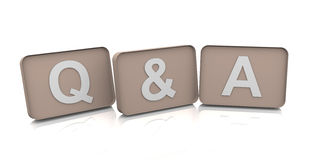 3d Text Q&A. 3d text Q&A render on white background Royalty Free Stock Image
