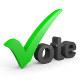 3D text vote. Green tick replacing letter V. Royalty Free Stock Photography