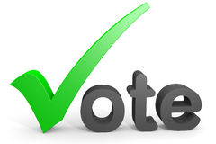 3D text vote. Green tick replacing letter V. Stock Photos