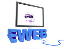 3D text web site with a monitor. On white background Stock Images