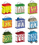 3D Text Words Sale Shopping Bags Buttons Icons Set. Advertising promotion words in the form of shopping bags Stock Photos