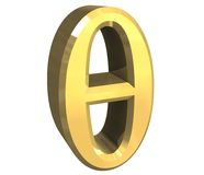 3D Theta symbol in gold Royalty Free Stock Photos