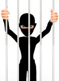 3D thief behind bars Stock Images