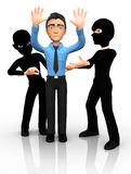 3D thieves mugging a man Royalty Free Stock Image