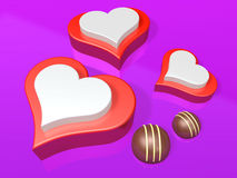 3d three heart and mini decorated chocolate Stock Photos
